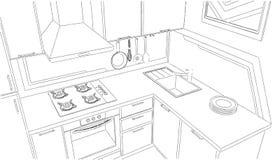 Piccolo disegno di schizzo d'angolo della cucina Fotografie Stock