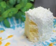 Piccolo dolce bianco della mousse, piatti blu e bianchi e foglie di menta verdi immagine stock libera da diritti