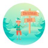 Piccolo elfo sveglio che sta vicino all'insegna di legno con la vendita del testo Modello di disegno di vettore illustrazione di stock