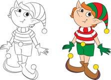 Piccolo elfo sveglio di Natale pronto particolarmente per il libro per bambini illustrazione di stock