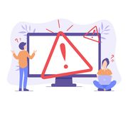 Piccolo errore di concetto 404 del computer della gente illustrazione di stock