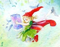 Piccolo fairy - illustrazione dell'acquerello Immagine Stock