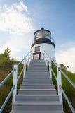 Piccolo faro della collina del castello a Newport, Rhode Island, U.S.A. Fotografia Stock