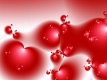 Piccolo fondo rosso di frattale del biglietto di S. Valentino dei cuori Fotografie Stock