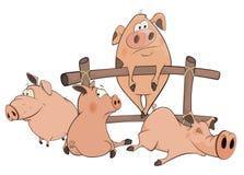 Piccolo fumetto dei maiali Fotografia Stock Libera da Diritti