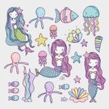 Piccolo fumetto di arte degli animali di mare e della sirena royalty illustrazione gratis
