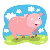 Piccolo fumetto divertente del maiale immagine stock libera da diritti