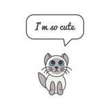 Piccolo gattino con il fumetto e dire Fotografie Stock Libere da Diritti