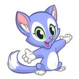 Piccolo gattino sveglio che indica la sua mano Seduta lanuginosa blu del gatto Fotografia Stock Libera da Diritti