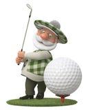 piccolo giocatore di golf dell'uomo 3d Fotografie Stock Libere da Diritti