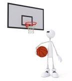 piccolo giocatore di pallacanestro dell'uomo 3d. Fotografia Stock Libera da Diritti