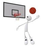piccolo giocatore di pallacanestro dell'uomo 3d. Fotografia Stock