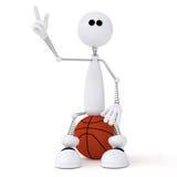 piccolo giocatore di pallacanestro dell'uomo 3d. Immagine Stock Libera da Diritti