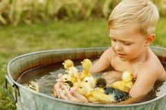 Piccolo gioco sveglio del ragazzo con l'anatroccolo nelle mani su una parte posteriore luminosa Fotografia Stock Libera da Diritti