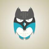 Piccolo gufo blu e grigio sveglio del fumetto Fotografie Stock Libere da Diritti