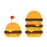 Piccolo hamburger e grande beefburger illustrazione di stock