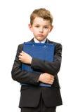 Piccolo imprenditore con la cartella fotografia stock
