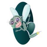 Piccolo insetto sveglio della mosca del fumetto in blu con i grandi occhi googly e le proboscide di sporgenza Immagine Stock Libera da Diritti
