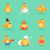 Piccolo insieme giallo di Chick Different Emotions And Situations del pollo delle illustrazioni sveglie di Emoji Fotografia Stock