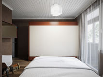 Piccolo interior design moderno contemporaneo urbano della camera da letto Fotografia Stock Libera da Diritti