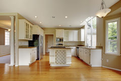 Piccolo interno americano classico della cucina con i gabinetti ed il pavimento di legno duro bianchi Fotografia Stock