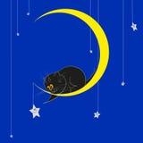 Piccolo kat nero sulla luna royalty illustrazione gratis