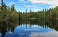 Piccolo lago sull'isola di Bolshoy Solovetsky, Russia Fotografia Stock Libera da Diritti