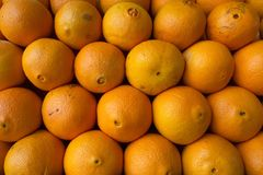 Piccolo lato di bugia delle arance dal lato, vicino ad a vicenda, i precedenti dell'alimento delle arance fresche luminose Immagini Stock Libere da Diritti