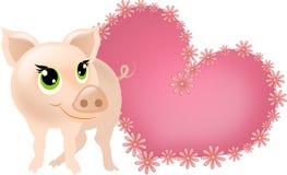 Piccolo maiale con cuore rosa Immagini Stock Libere da Diritti