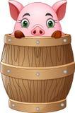 Piccolo maiale del fumetto in barilotto royalty illustrazione gratis