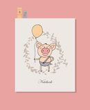 Piccolo maiale sveglio che sta con il pallone in una mano Immagini Stock Libere da Diritti