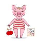 Piccolo maiale sveglio nello stile del fumetto in un costume da bagno a strisce royalty illustrazione gratis