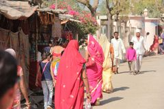 Piccolo mercato del villaggio indiano nel Ragiastan immagini stock