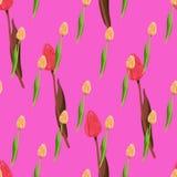 Piccolo modello floreale dei tulipani senza cuciture illustrazione di stock