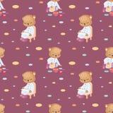 Piccolo modello senza cuciture di Teddy Bear Fotografia Stock