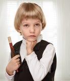 Piccolo musicista Boy con il piffero Fotografia Stock Libera da Diritti