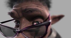 Piccolo nano divertente nero Fotografia Stock