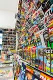 Piccolo negozio della rivista di vendite tedesche della parete Fotografia Stock