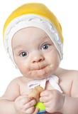 Piccolo neonato con la cesoia Fotografie Stock Libere da Diritti