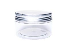 Piccolo nuovo barattolo o destinatario di plastica con il cappuccio di alluminio del coperchio Immagine Stock Libera da Diritti