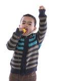Piccolo oratore con discorso entusiasta fotografia stock