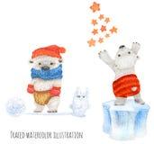 Piccolo orsi polari nel divertimento di inverno illustrazione di stock