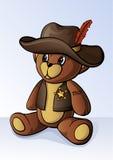 Piccolo orso di orsacchiotto sveglio vestito come sceriffo Fotografie Stock Libere da Diritti