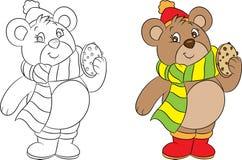 Piccolo orso sveglio di inverno che tiene un biscotto di pepita di cioccolato, pronto particolarmente per il libro da colorare de illustrazione di stock