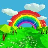 Piccolo paesaggio con l'arcobaleno royalty illustrazione gratis