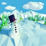 Piccolo paesaggio della neve con gli abeti Immagini Stock Libere da Diritti
