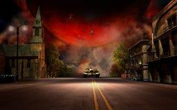 Piccolo paesaggio di battaglia del villaggio Fotografia Stock