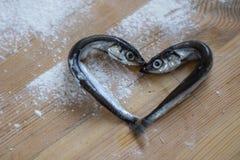 Piccolo pesce di mare d'argento presentato sotto forma di un cuore fotografie stock libere da diritti