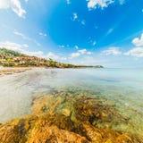 Piccolo Pevero beach on a cloudy day. Sardinia Stock Photos