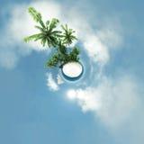 Piccolo pianeta, oceano, isola tropicale, illustrazione delle palme 3D Fotografia Stock